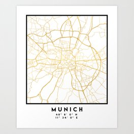 MUNICH GERMANY CITY STREET MAP ART Art Print