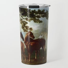 Classical Masterpiece Circa 1762 Mares and Foals in a River Landscape by George Stubbs Travel Mug