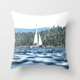 Calm Lake Sailboat Throw Pillow