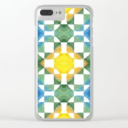 Circular Logic / water color geometric pattern / quilted look Clear iPhone Case