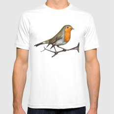 Robin bird Mens Fitted Tee MEDIUM White