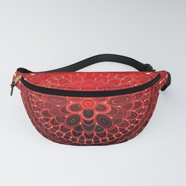 Red Flower Mandala Fanny Pack