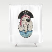 pirate Shower Curtains featuring Pirate by Bruno Gonçales