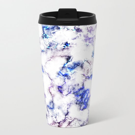 Blue and Pink Veined Marble Metal Travel Mug