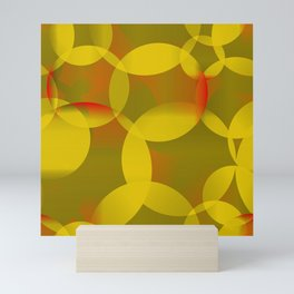 Abstract soap of lemon molecules and red bubbles on a yellow background. Mini Art Print