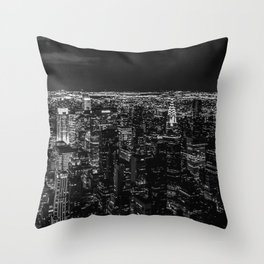 Manhattan. Black and white Throw Pillow