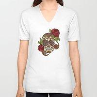 sugar skull V-neck T-shirts featuring Sugar Skull by Valentina Harper