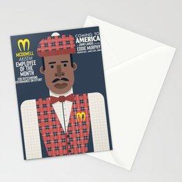 Coming to America, Eddie Murphy, prince  Akeem Joffer, John Landis movie poster, McDowell employee of the month, Il principe cerca moglie Stationery Cards