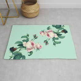 Roses Mint Green + Pink Rug