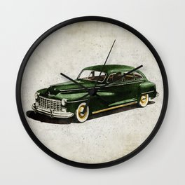 Retro car - American classics. Green antique automobile over hatched background. Wall Clock