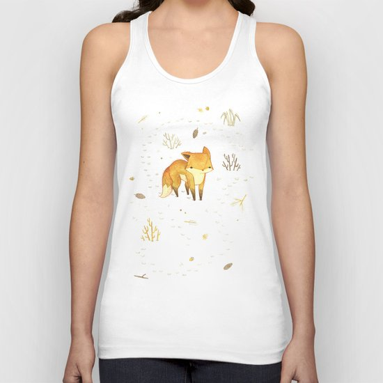 Lonely Winter Fox Unisex Tank Top