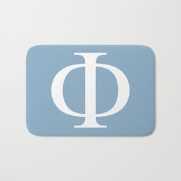 Greek letter Phi sign on placid blue background Bath Mat
