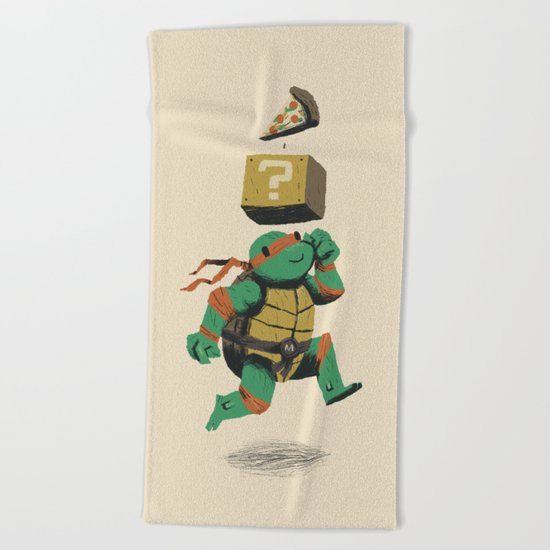 turtle power..up Beach Towel