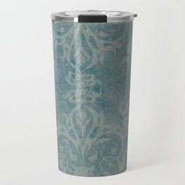 Antique rustic teal damask fabric Travel Mug