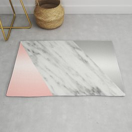 Pink Grey and Marble Collage Rug