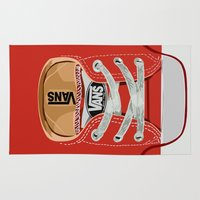 vans Area & Throw Rugs featuring Cute red Vans all star baby shoes apple iPhone 4 4s 5 5s 5c, ipod, ipad, pillow case and tshirt by Three Second