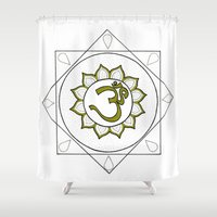 om Shower Curtains featuring Om by Anastasia Fomina