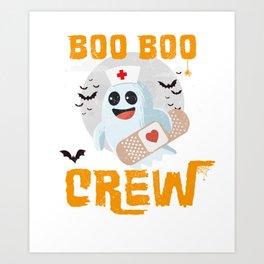 Boo Boo Crew, Nurse Ghost Funny Halloween Art Print