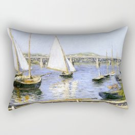 """Gustave Caillebotte """"Sailing Boats at Argenteuil"""" Rectangular Pillow"""