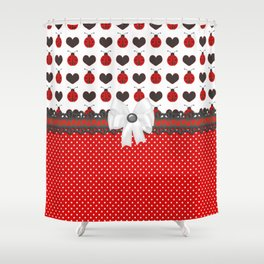 Ladybug and Hearts Shower Curtain