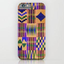 Kente Cloth // Anzac Yellow & Persian Blue iPhone Case