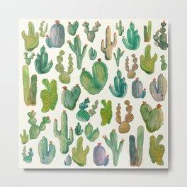 Summer Watercolor Cactus Metal Print