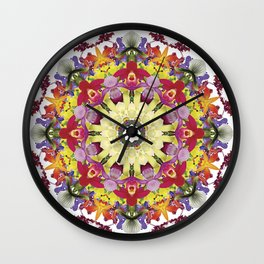 Abundantly colorful orchid mandala 1 Wall Clock