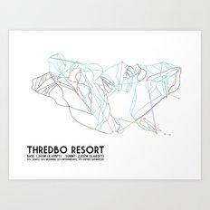 Thredbo, NSW, Australia - Minimalist Trail Map Art Print