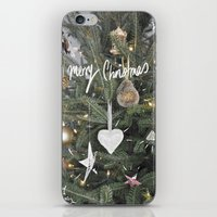 christmas tree iPhone & iPod Skins featuring Christmas Tree by Tamsin Lucie