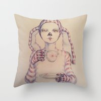 tea Throw Pillows featuring Tea? by Zina Nedelcheva