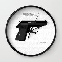 bond Wall Clocks featuring Bond PPK by AngoldArts