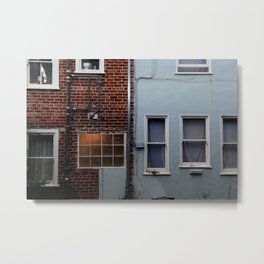 Brick Meets Blue Metal Print
