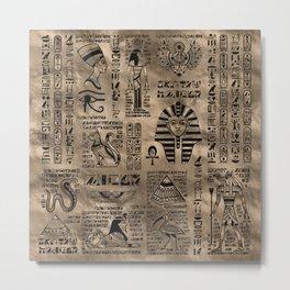 Egyptian hieroglyphs and deities - Luxury Gold Metal Print