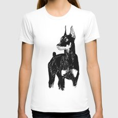 Doberman SMALL Womens Fitted Tee White