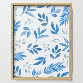 Tropical Blue Leaves Serving Tray
