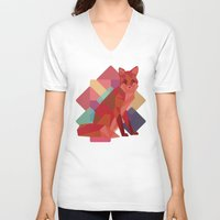 origami V-neck T-shirts featuring Origami Fox by Minette Wasserman