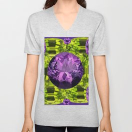 AMETHYST PURPLE  LIME GREEN PERIDOT GEMS BIRTHSTONES Unisex V-Neck