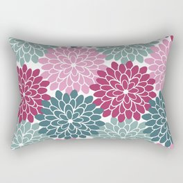 Petals in Rose, Maroon and Light and Dark Cyan Rectangular Pillow