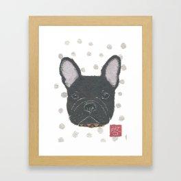 Black French Bulldog, FRENCHIE, Dog Framed Art Print