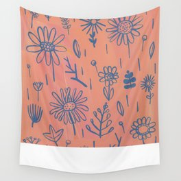 Peach Floral Wall Tapestry