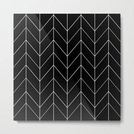 BLACK WHITE ZIG ZAG CHEVRON HERRINGBONE Metal Print