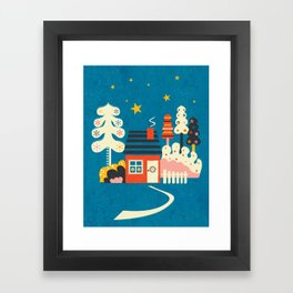 Festive Winter Hut Framed Art Print