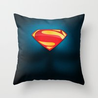 man of steel Throw Pillows featuring Man of Steel Suit by Roboz