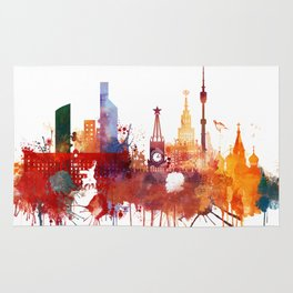 Moscow Watercolor Skyline Rug