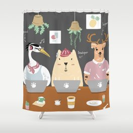 When he Works in a Cafe ... Shower Curtain