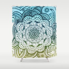Mandala Blue Yellow Shower Curtain