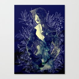 Shadow-man in conscious flowering ornament   Canvas Print