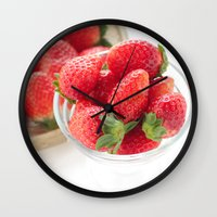 strawberry Wall Clocks featuring strawberry by yumehana design fine art photography