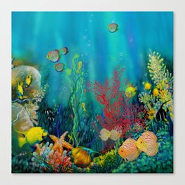 Undersea Art With Coral Canvas Print