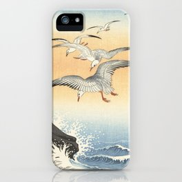 Japanese Seagull Woodblock Print by Ohara Koson iPhone Case